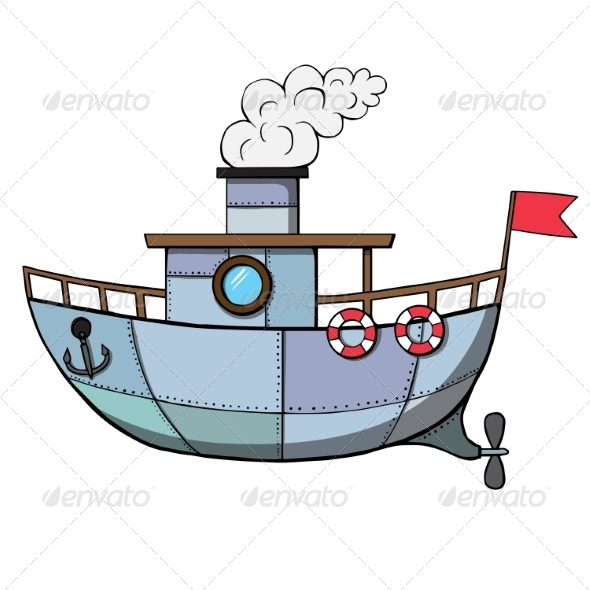 Cartoon Ship - Man-made Objects Objects
