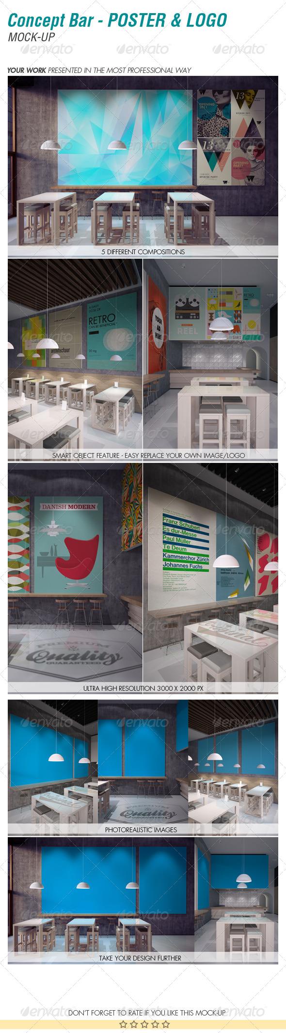 Concept Bar - Poster & Logo Mock-up - Product Mock-Ups Graphics