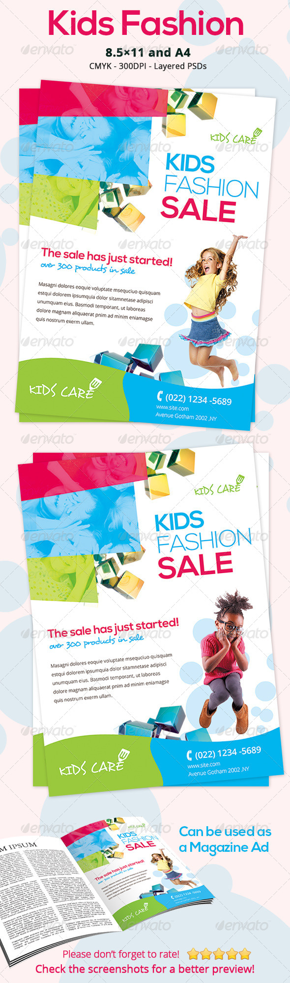 Colorful Kids Fashion Flyer by ingridk | GraphicRiver