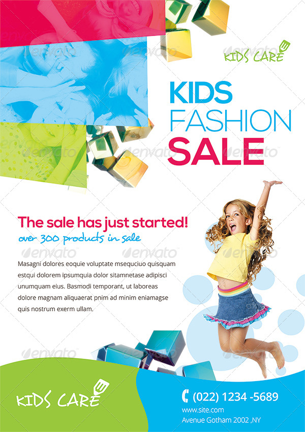 colorful kids fashion flyer by ingridk