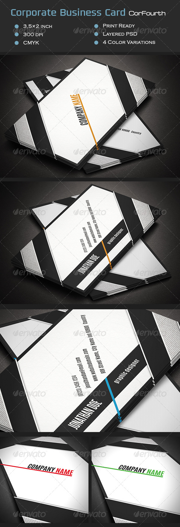 Corporate Business Card CorFourth - Corporate Business Cards
