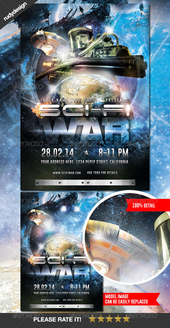 Science Fiction Space War Flyer Design - Events Flyers