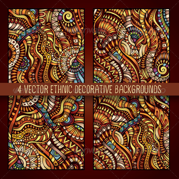 4 Decorative Ornamental Ethnic Backgrounds - Decorative Vectors