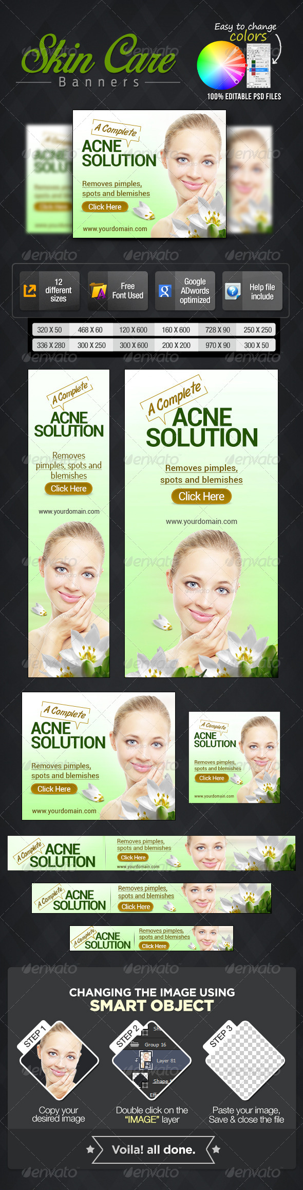 Banner Set for Skin Care Products - Banners & Ads Web Elements