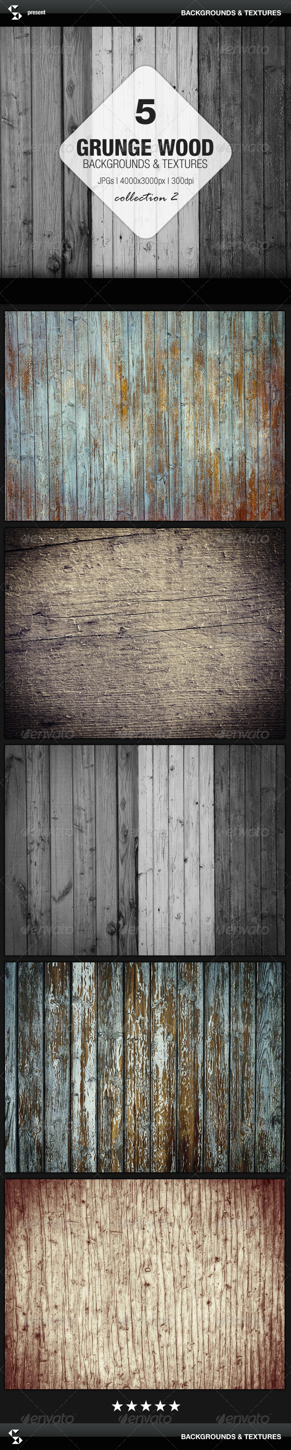 Grunge Wood Backgrounds - Collection 2 - Nature Backgrounds