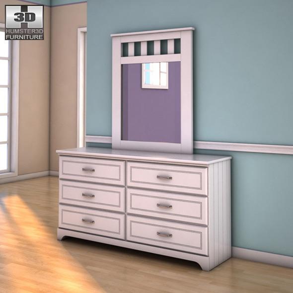 Ashley Lulu Dresser & Mirror - 3D model.