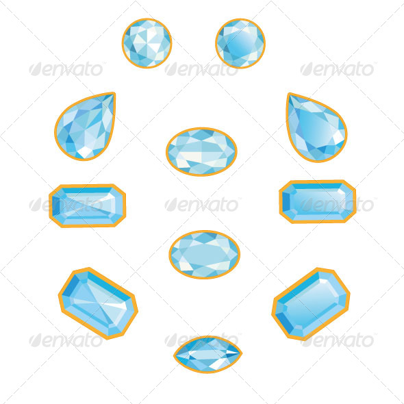 Blue Diamond Set - Decorative Vectors