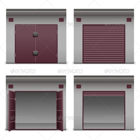 Vector Garage Icons - Buildings Objects