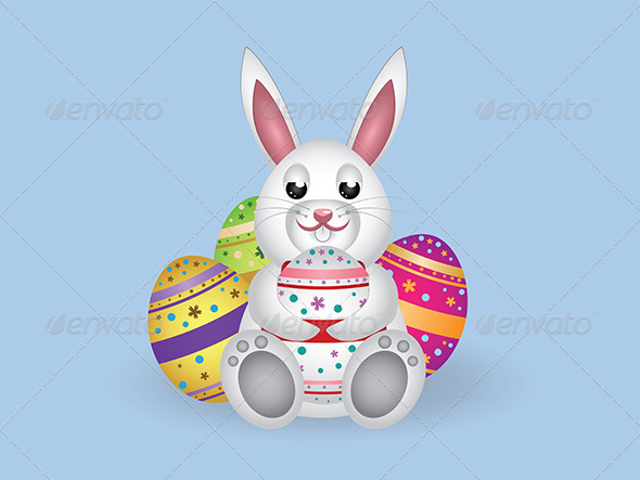 White Bunny with Easter Eggs   - Animals Characters