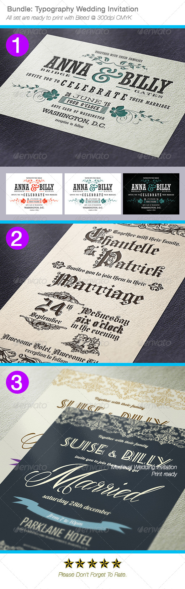 Bundle: Typography Wedding Invitations - Weddings Cards & Invites