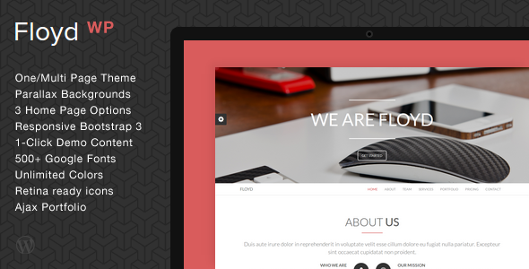 Floyd - One Page Parallax WordPress Theme - Creative WordPress