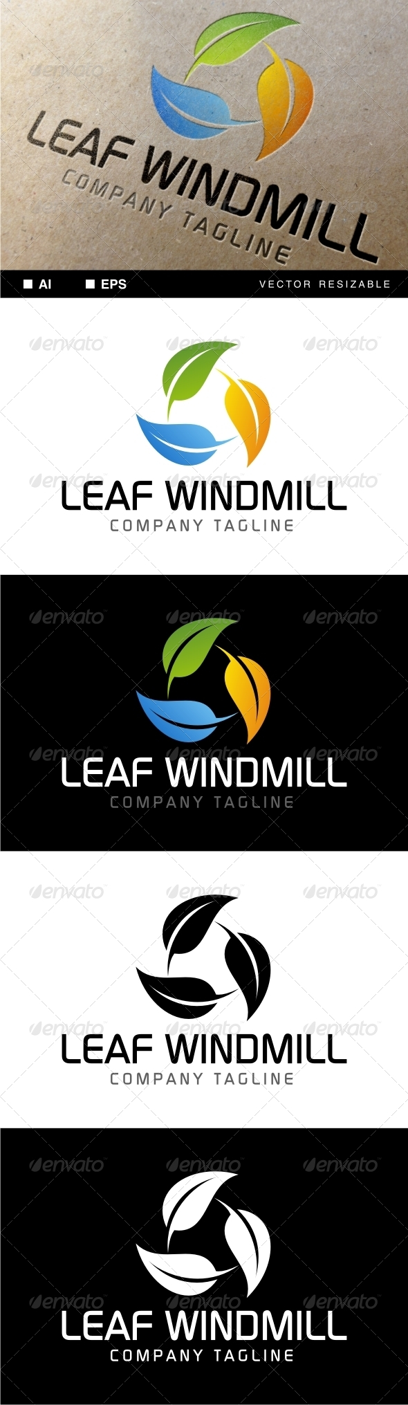 Leaf Windmill Logo - Nature Logo Templates