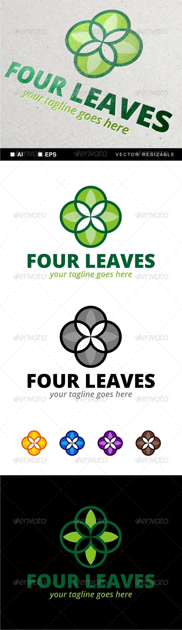 Four Leaves Logo - Nature Logo Templates