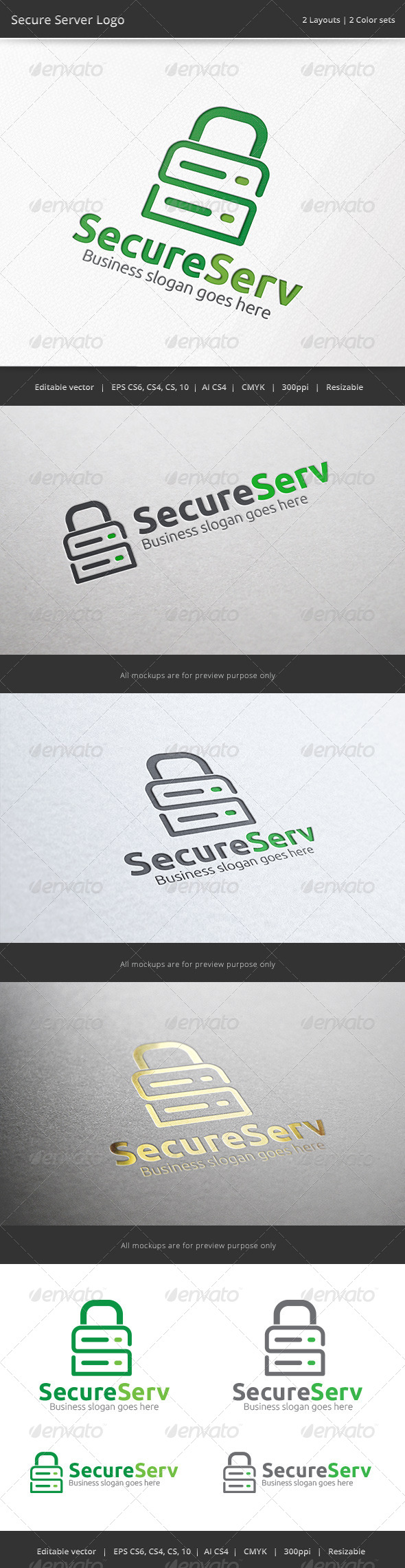 Secure Server Logo - Objects Logo Templates
