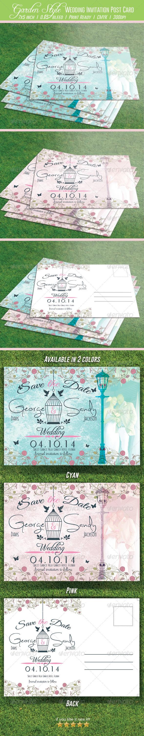 Garden Style Wedding Invitation Post Card - Weddings Cards & Invites