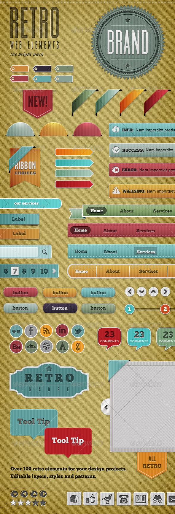 Retro Web Elements - Bright Pack - Miscellaneous Web Elements