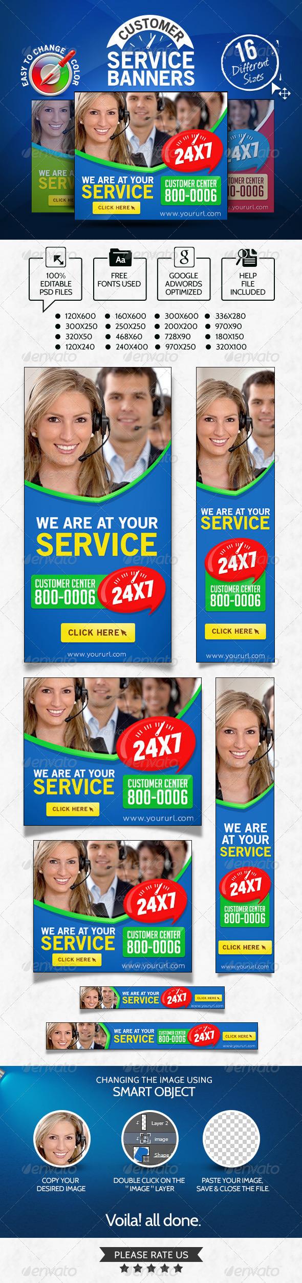 Customer Service Banner set - Banners & Ads Web Elements