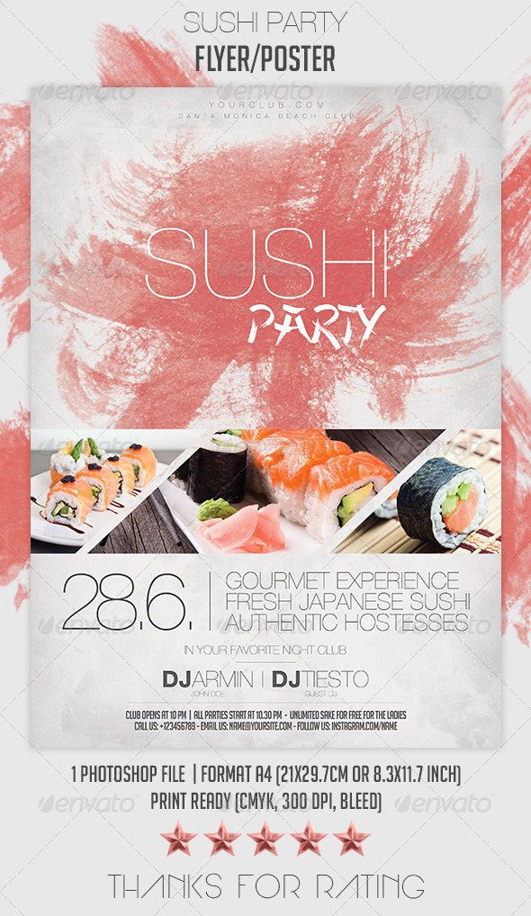 Sushi Party Flyer/Poster - Clubs & Parties Events