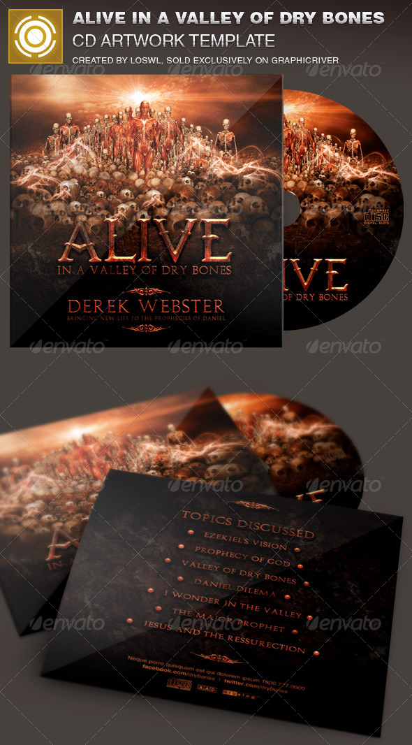 Alive in a Valley of Dry Bones CD Artwork Template - CD & DVD Artwork Print Templates