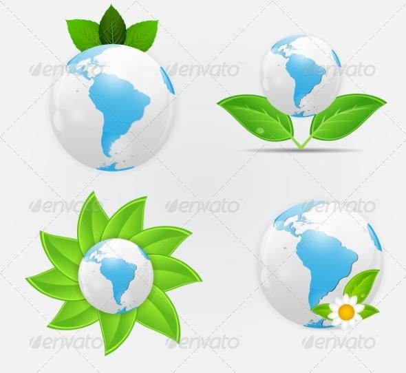 Green Eco Planet - Decorative Symbols Decorative
