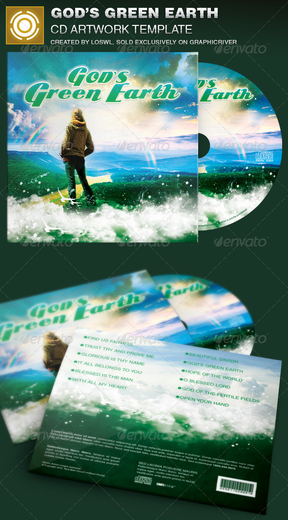 God's Green Earth CD Artwork Template - CD & DVD Artwork Print Templates