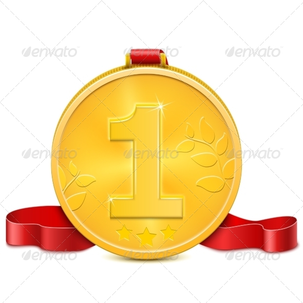 Gold Medal With Red Ribbon. - Concepts Business