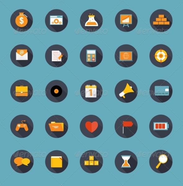 Set of Flat Icons Vector Illustration - Web Technology