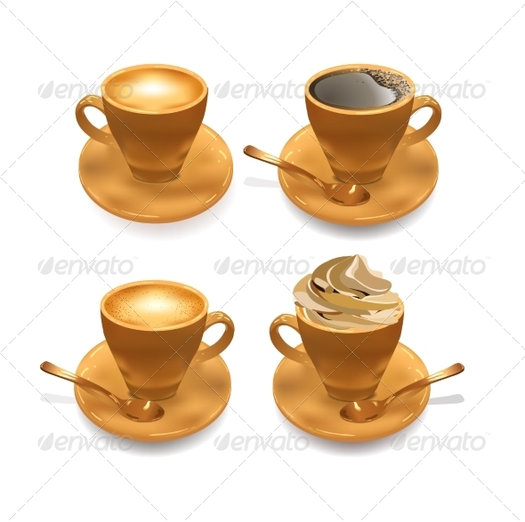 Set of Isolated Coffee Cups - Food Objects