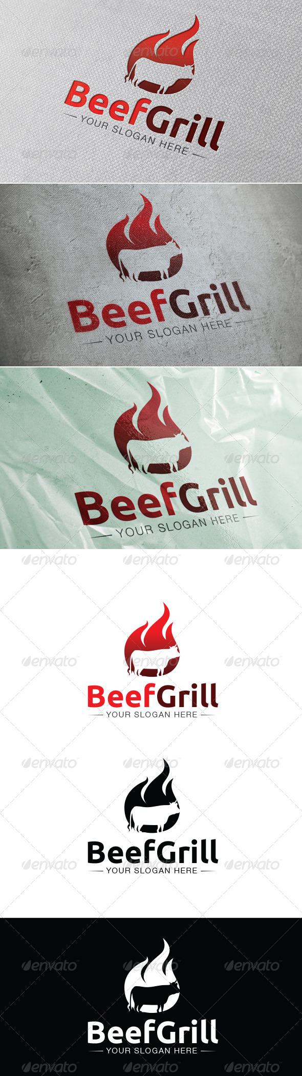 Beef Grill Logo Template - Animals Logo Templates