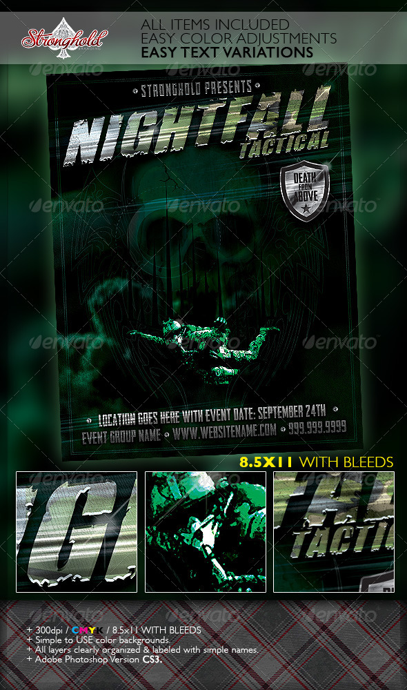 Halo Military Ops Paratrooper Flyer Template - Grunge Business Cards