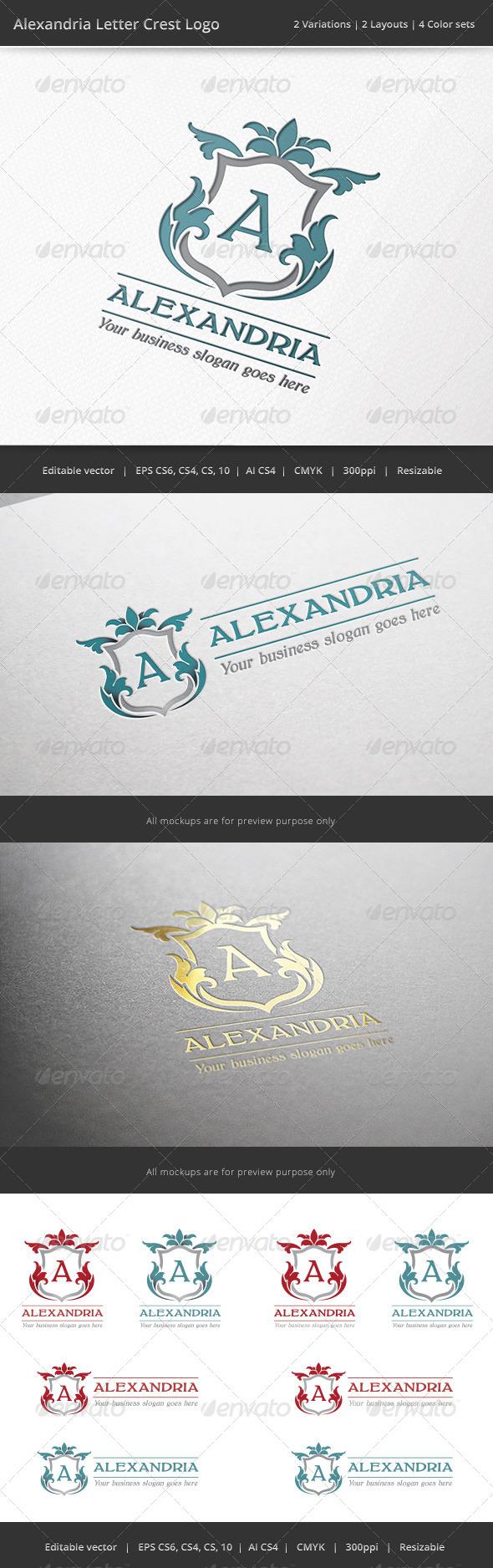 Alexandria Letter Crest Logo - Crests Logo Templates
