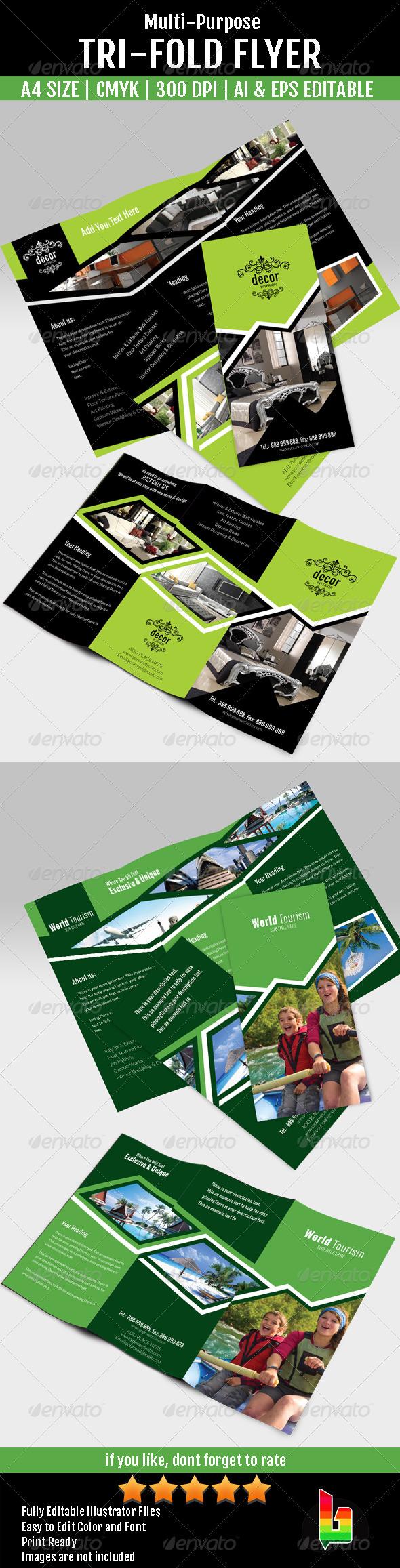 Multi-Purpose Tri Fold Flyer - Corporate Flyers