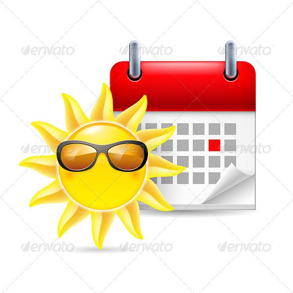 Sun and Calendar - Miscellaneous Vectors