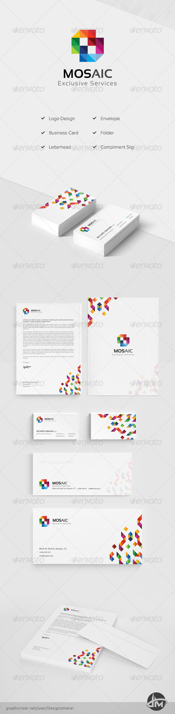 Mosaic Stationery Pack - Stationery Print Templates