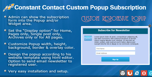 Download nulled Constant Contact Custom Popup Subscription for WP