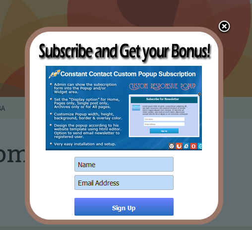 Constant Contact Custom Popup Subscription for WP by wpproducts ...