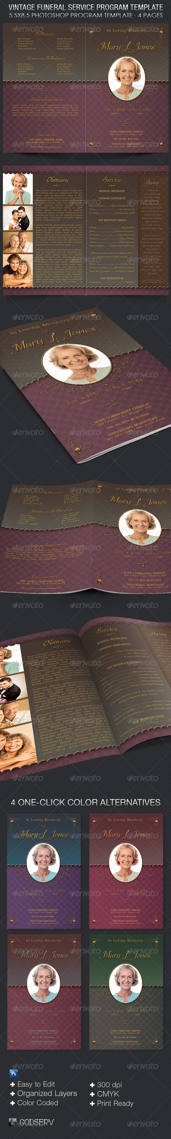 Vintage Funeral Service Program Template - Informational Brochures