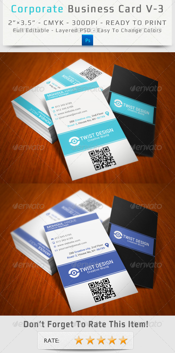 Corporate Business Card V-3 - Corporate Business Cards