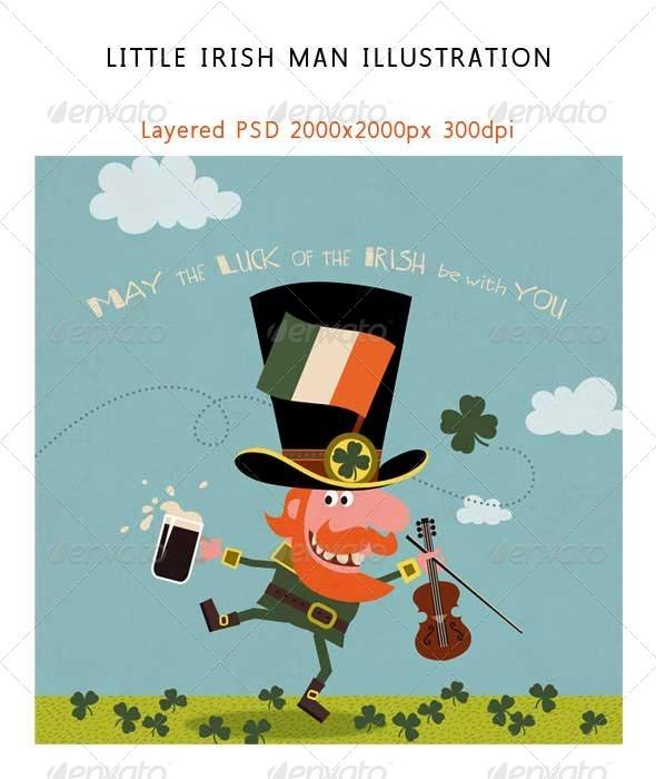 Leprechaun Dancing with Irish Shamrock - Characters Illustrations