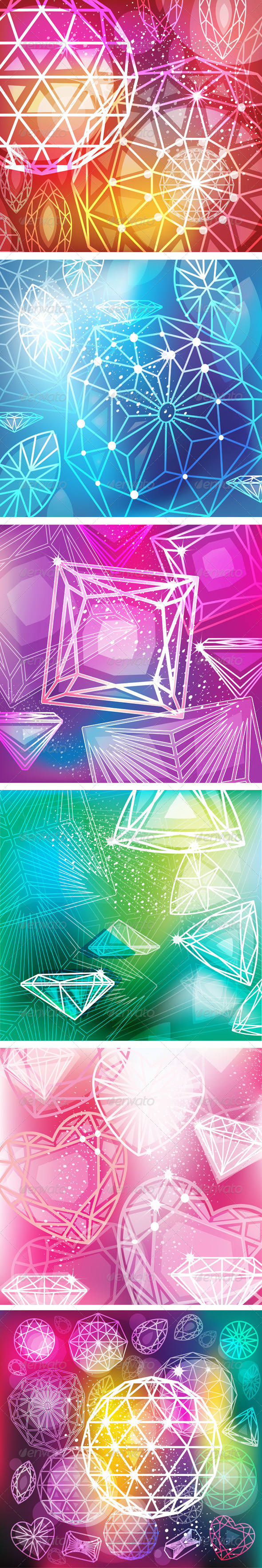 Set of Backgrounds with Linear Diamonds Cutting - Backgrounds Decorative