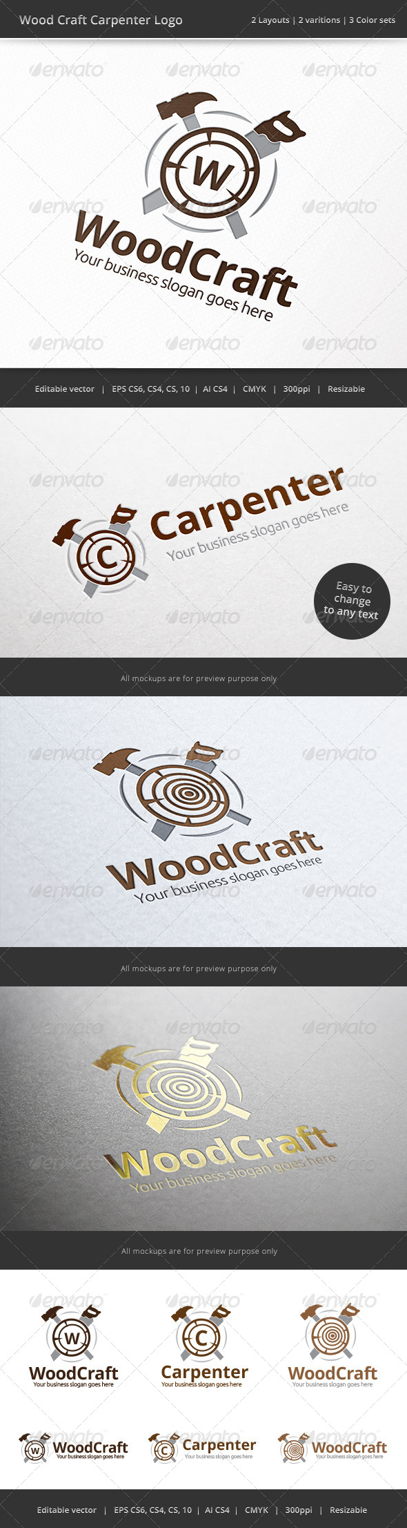Carpenter Wood Craft Logo - Objects Logo Templates
