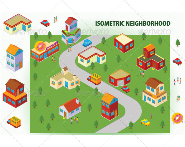 Isometric Neighborhood - Buildings Objects