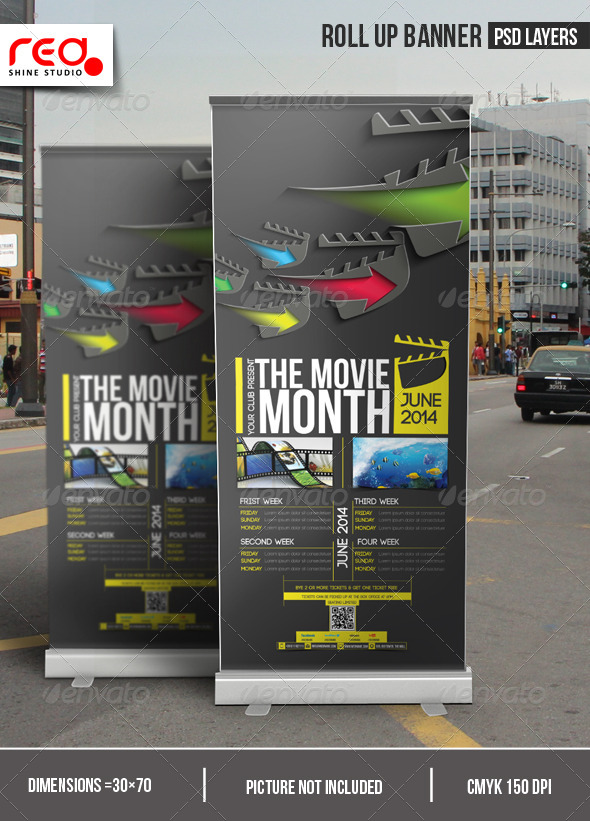 The Movie Month Promotion Roll-up Banner - Signage Print Templates