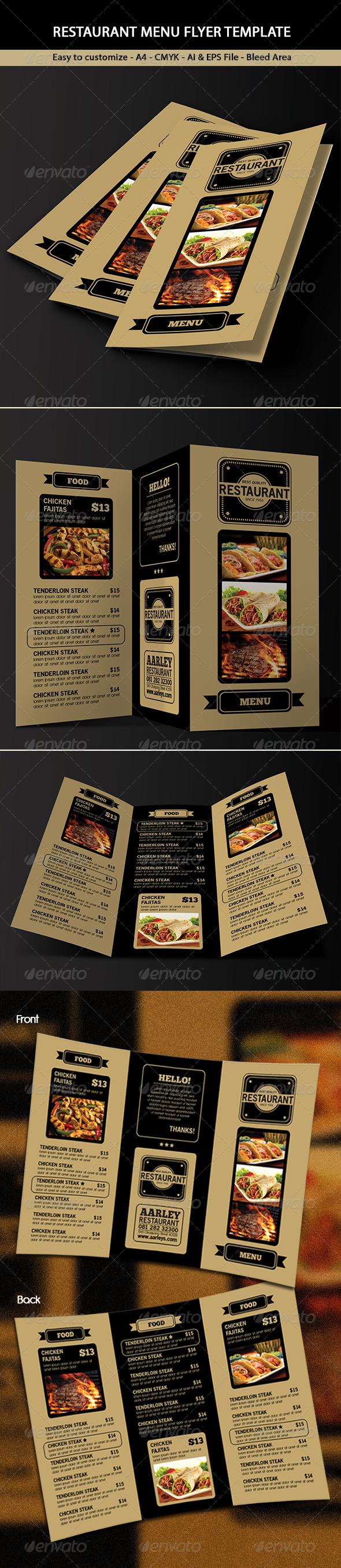 Trifold Restaurant Menu - Food Menus Print Templates
