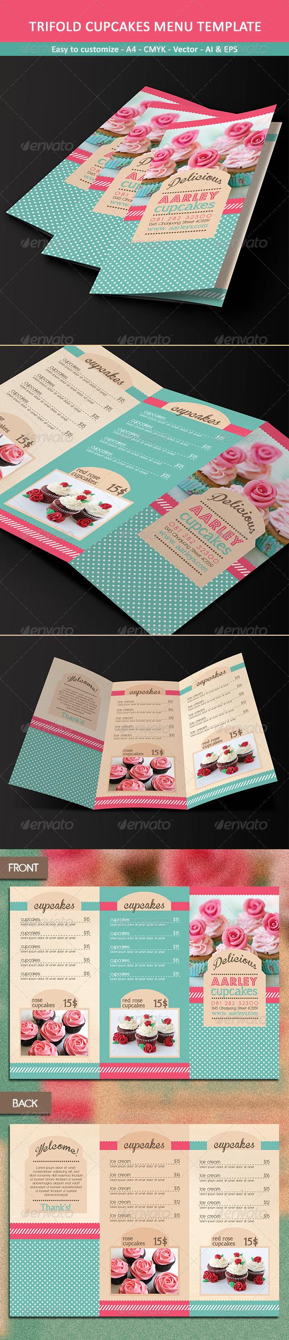Trifold Cupcakes Menu Template - Food Menus Print Templates