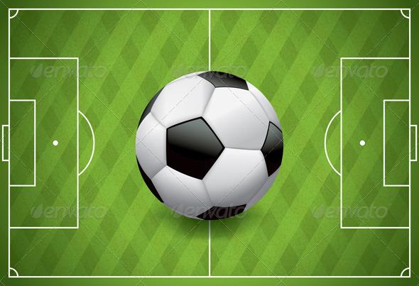 Vector Football - Soccer Ball on Textured Field - Sports/Activity Conceptual