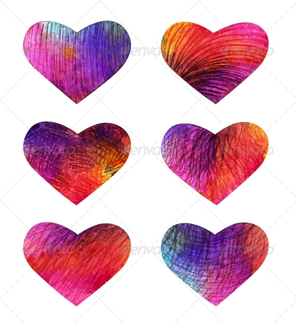 Set of Colorful Hearts. - Decorative Symbols Decorative