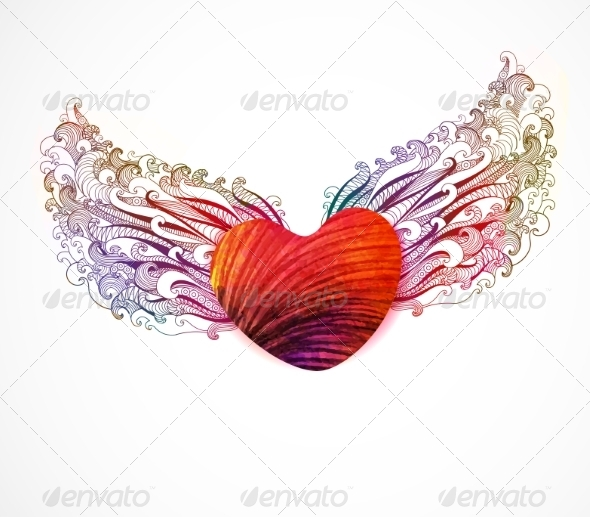 Abstract Heart with Wings - Decorative Symbols Decorative
