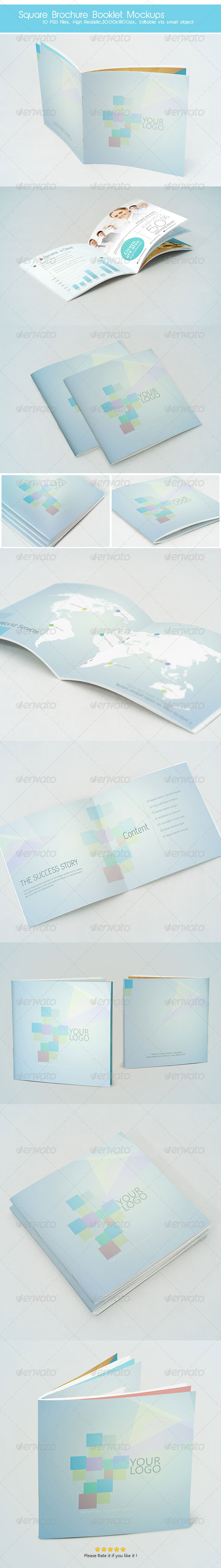 Square Brochure Booklet Mockups - Product Mock-Ups Graphics