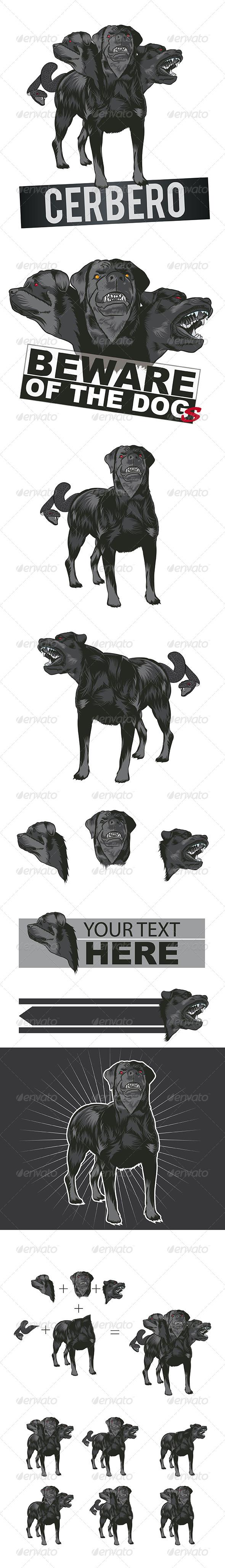 Dog Mascot Cerberus - Vectors